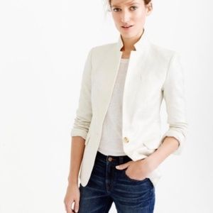 J. Crew White Linen Regent Blazer Size 2P